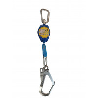 2m Retractable Lanyard with 50mm Scaffold Hook and Triple Action Carabiner