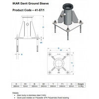 IKAR Davit Centre Stainless Steel Base Plate (41-57/1)