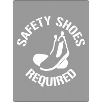 600x450mm - Poly Stencil - Safety Shoes Required (ST1204)