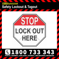 STOP LOCKOUT HERE 100mm Square Self Stick Vinyl (Pack of 5)
