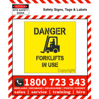 STENCIL DANGER FORKLIFTS IN USE 650mm Square Poly