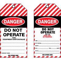 75x160mm - Cardboard Tags - Pkt of 25 - Danger Do Not Operate This Equipment/Switch/Valve (TDT100C)