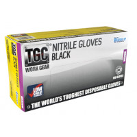 (Box of 100) The Glove Company MEDIUM TGC Black Nitrile Gloves (160002)