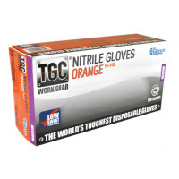 (Box of 100) The Glove Company SMALL TGC Orange Hi-Vis Nitrile Gloves (160031)