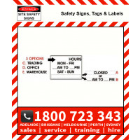 TRADING / OFFICE / WAREHOUSE HOURS 450x600mm Metal