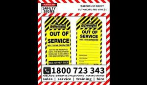WorkSafe OUT OF SERVICE Tag Pk 100